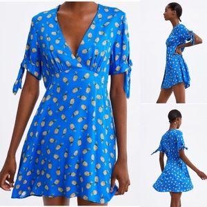 Zara v neck pineapple print summer mini dress